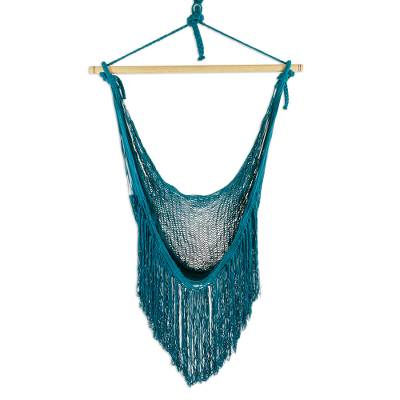 Fringed Teal Cotton Rope Mayan Hammock Swing from Mexico