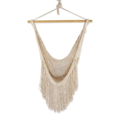 Ivory Fringed Cotton Rope Mayan Hammock Swing from Mexico