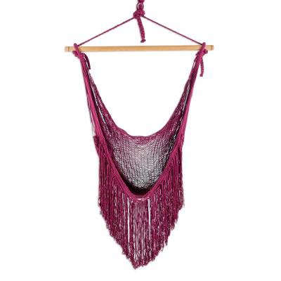 Burgundy Fringed Cotton Rope Mayan Hammock Swing from Mexico
