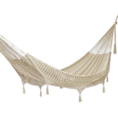 Beige Tasseled Cotton Hammock (Single) From Mexico