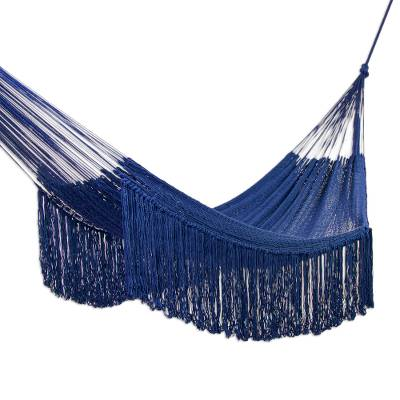 Fringed Navy Blue Cotton Hammock from Mexico (Triple)