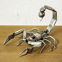 Recycled metal sculpture, 'Escorpion Rustico' - Recycled Scrap Metal Sculpture from Mexico