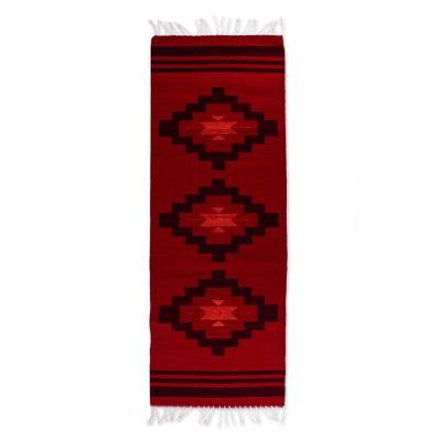 Zapotec wool area rug, 'Sunset Red' (2x6) - Handwoven Zapotec Wool Area Rug (2x6) from Mexico