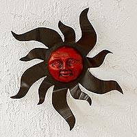 Steel wall plaque, 'Crimson Sunburst' - Metal and Ceramic Crimson Sun Wall Plaque from Mexico