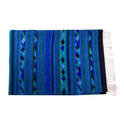Zapotec wool area rug, 'Mystical Night' (6.5x10.5) - Zapotec Geometric Style Wool Area Rug from Mexico (6.5x10.5)
