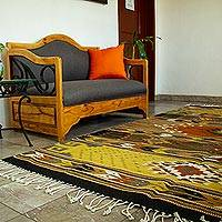 Zapotec wool rug, 'Eyes of the Gods' (6.5 x 10) - Zapotec Wool Area Rug (10 x 6.5) from Mexico