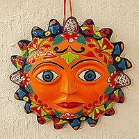 Talavera style ceramic plaque, 'Señor Sol' - Orange Talavera Style Sun Wall Plaque from Mexico