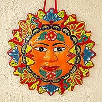 Talavera style ceramic plaque, 'Pure Sun' - Colorful Floral Talavera Style Sun Wall Plaque from Mexico