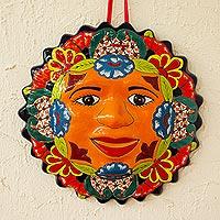 Ceramic wall plaque, 'Sunshine' - Talavera-Style Sun Wall Plaque from Mexico
