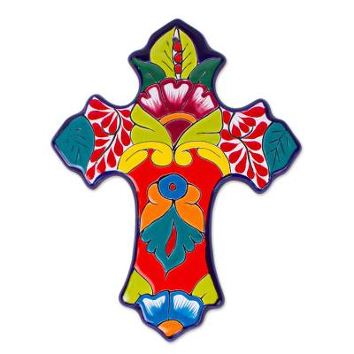 Hand-Painted Talavera-Style Cross from Mexico