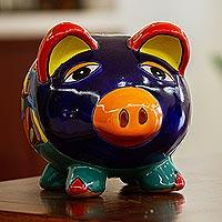 Ceramic decorative accent, 'Wealthy Piggy'