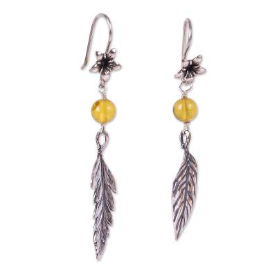 Coffee-Themed Dangle Earrings with Amber from Mexico