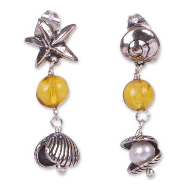 Ocean-Themed Amber Dangle Earrings from Mexico