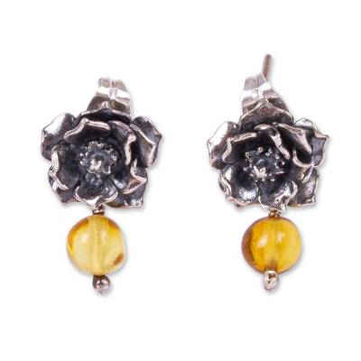 Cacti Flower Amber Drop Earrings from Mexico
