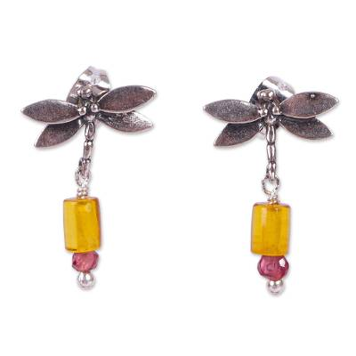 Amber and Amethyst Silver Dangle Earrings from Mexico