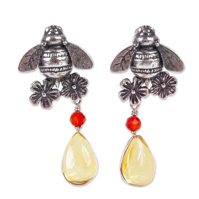 Bee-Themed Amber Dangle Earrings from Mexico