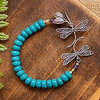 Hematite Natural Anklet with reconstituted stone beads white turtles and turquoise dyed reconstituted turtles