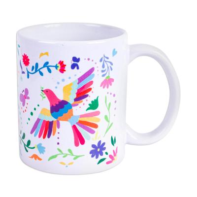 Artisan Crafted Otomi Birds and Flowers Motif Ceramic Mug
