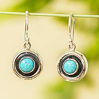Turquoise drop earrings, 'Gaia' - Petite Taxco Silver and Reconstituted Turquoise Earrings