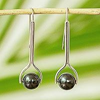 Silver drop earrings, 'Obsidian Pendulum' - Modern Obsidian Drop Earrings from Mexico