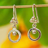 Silver dangle earrings, 'Silver Grains' - Taxco Fine Silver Modern Dangle Earrings from Mexico