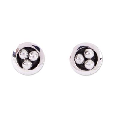 Silver stud earrings, 'Silver Beads' - Taxco Silver Stud Earrings from Mexico