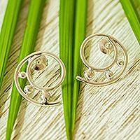 Silver drop earrings, 'Silver Twirl' - 925 Sterling Silver Spiral Drop Earrings from Mexico