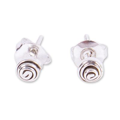 Silver stud earrings, 'Mini Silver Twirl' - 950 Silver Spiral Mini Stud Earrings from Mexico
