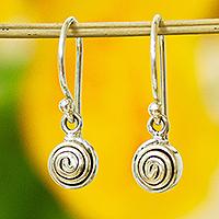 Silver dangle earrings, 'Silver Twirl Drop' - Petite 950 Silver Dangle Earrings from Mexico
