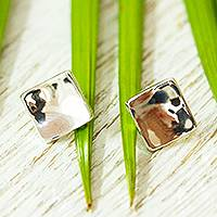 Silver stud earrings, 'Parable'