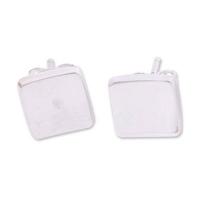 Silver stud earrings, 'Parable' - 950 Silver Hammered Square Stud Earrings from Mexico
