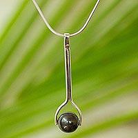 Silver pendant necklace, 'Obsidian Pendulum' - 950 Silver and Obsidian Pendant Necklace from Mexico