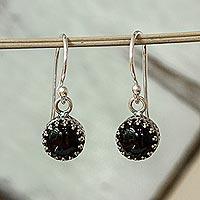 Obsidian dangle earrings, 'Nighttime' - Taxco Silver and Obsidian Dangle Earrings from Mexico
