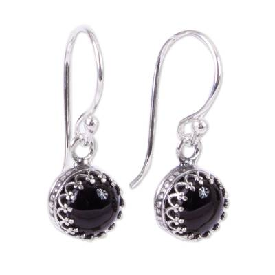 Taxco Silver and Obsidian Dangle Earrings from Mexico
