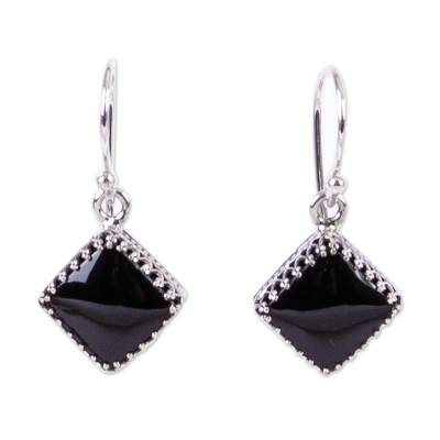 Modern Taxco Silver and Obsidian Dangle Earrings from Mexico