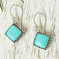 Turquoise dangle earrings, 'Turquoise Squares' - Square Turquoise Dangle Earrings from Mexico