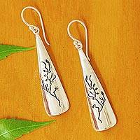 Silver dangle earrings, 'Silver Trees' - Tree Theme Taxco 950 Silver Dangle Earrings from Mexico