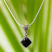 Obsidian pendant necklace, 'Black Splendor' - Taxco Silver and Obsidian Pendant Necklace from Mexico