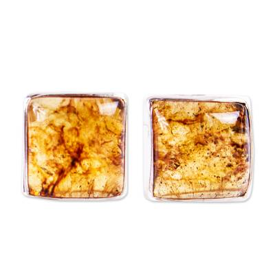 Square Amber Stud Earrings from Mexico