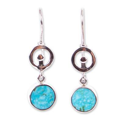 Taxco Silver Reconstituted Turquoise Earrings from Mexico