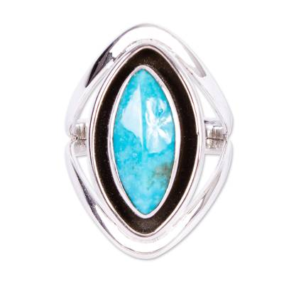 Taxco Silver And Reconstituted Turquoise Ring from Mexico