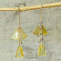 Amber dangle earrings, 'Golden Legends' - 925 Sterling Silver and Amber Dangle Earrings from Mexico