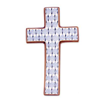 Hand Painted Ceramic Wall Cross from Mexico