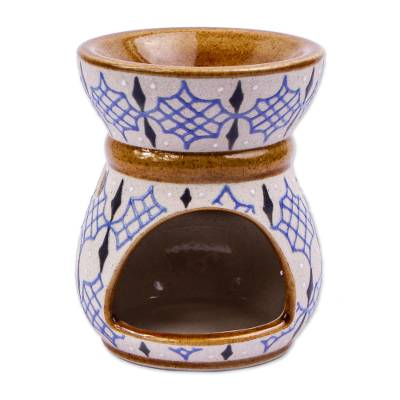 Hand Painted Beige and Blue Ceramic Oil Warmer from Mexico