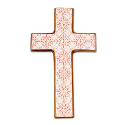 Hand-Painted Ceramic Cross from Mexico