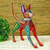Wood alebrije, 'Mexican Hairless Dog in Red'