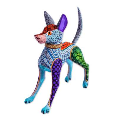 Blue Copal Wood Mexican Hairless Dog Alebrije from Mexico