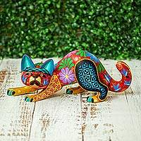 Wood alebrije, 'Crouching Cat' - Copal Wood Crouching Cat Alebrije from Mexico