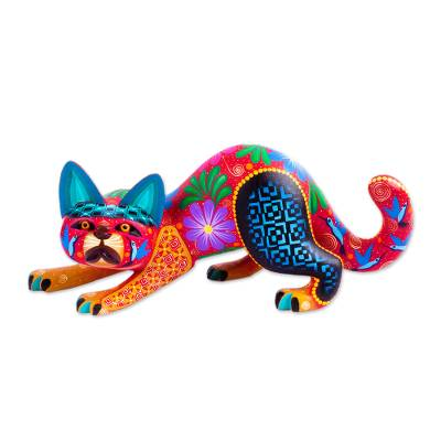 Copal Wood Crouching Cat Alebrije from Mexico