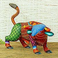 Wood alebrije sculpture, 'Sunset Bull'